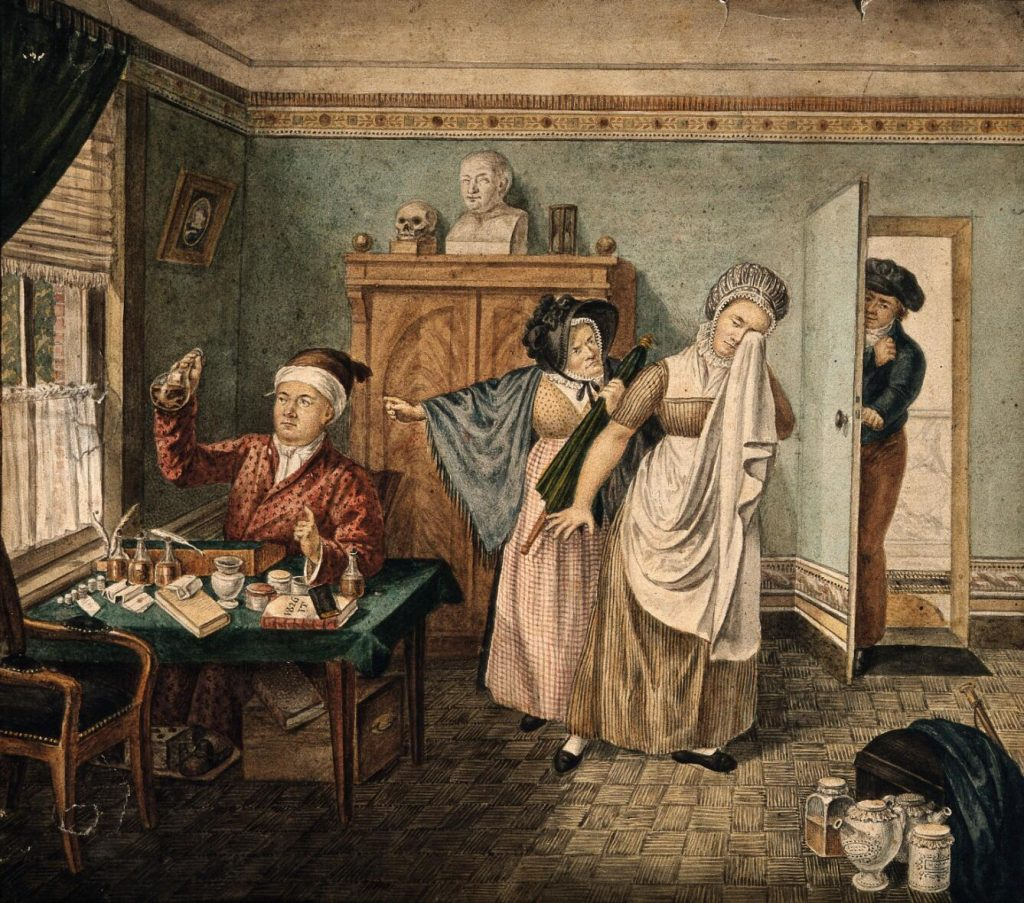 A physician examining a urine specimen in which a faint figure of a baby is visible, a female patient is crying and being shouted at by her angry mother, indicating that she is pregnant. Watercolour by I.T., 1826.